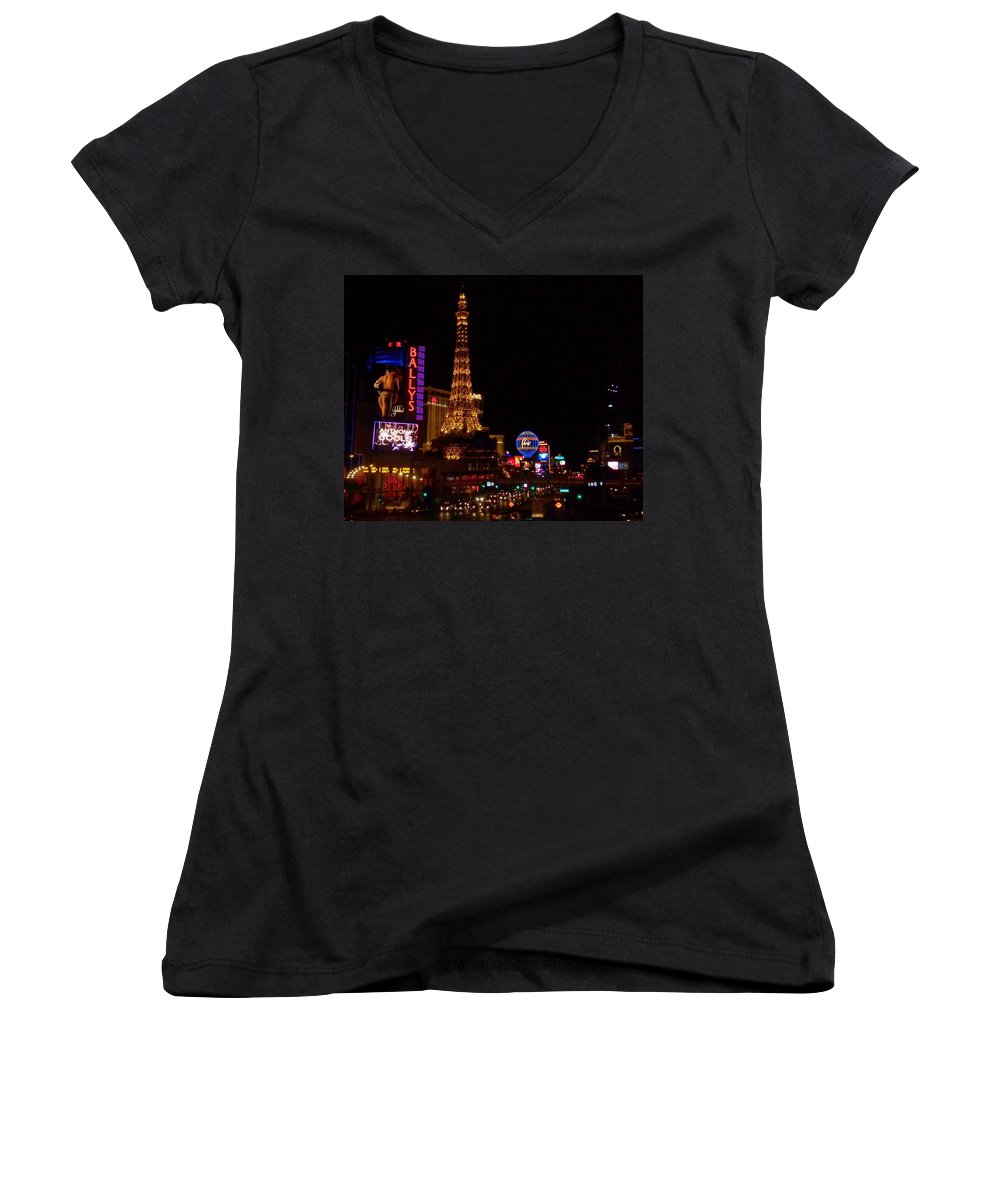 Vegas Women's V-Neck T-Shirt featuring the photograph The Strip At Night 1 by Anita Burgermeister