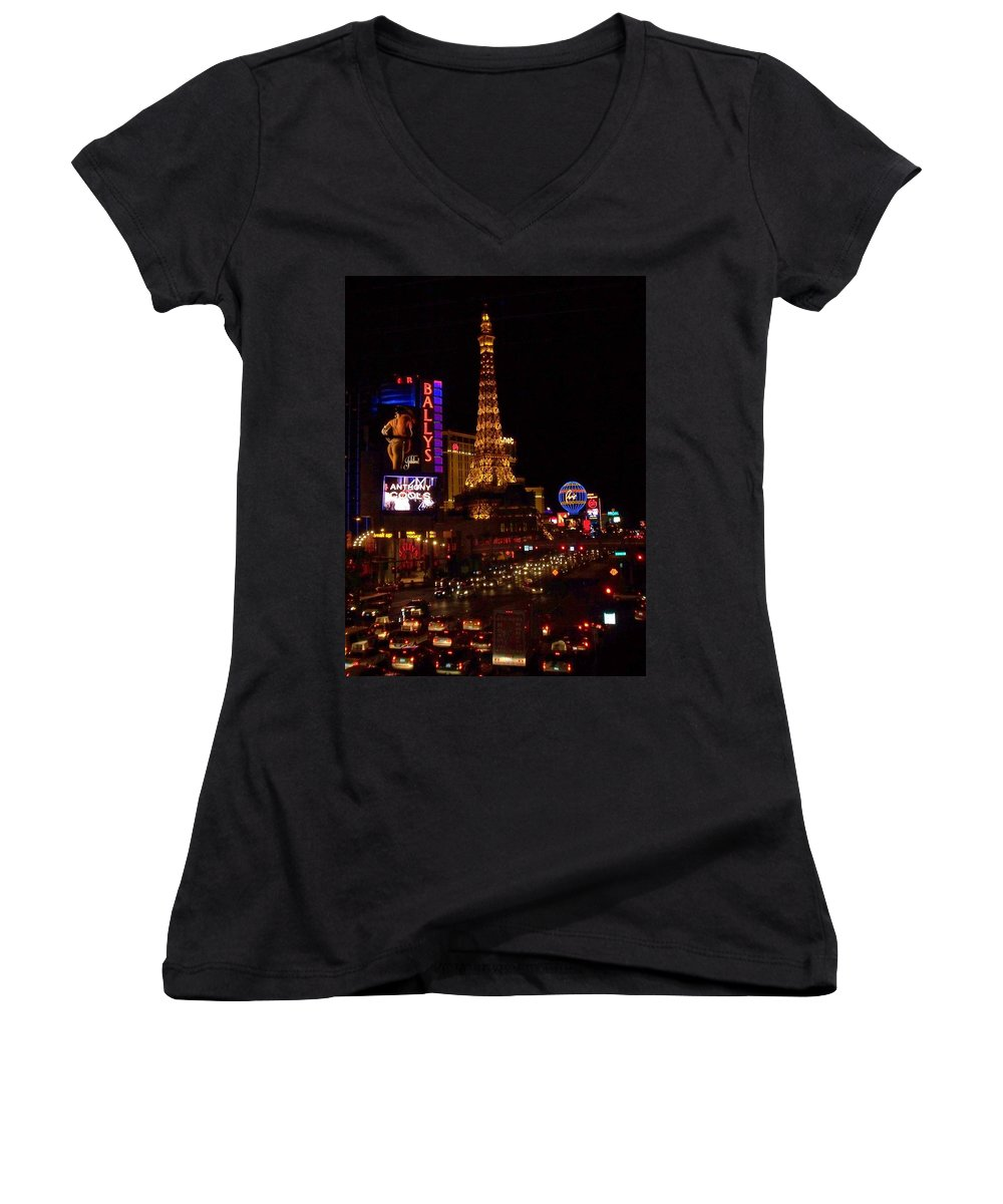 Vegas Women's V-Neck T-Shirt featuring the photograph The Strip At Night 2 by Anita Burgermeister