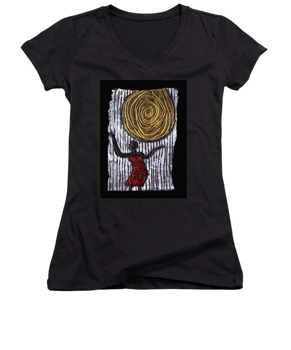 Woman Women's V-Neck T-Shirt featuring the painting The Sun And I by Wayne Potrafka