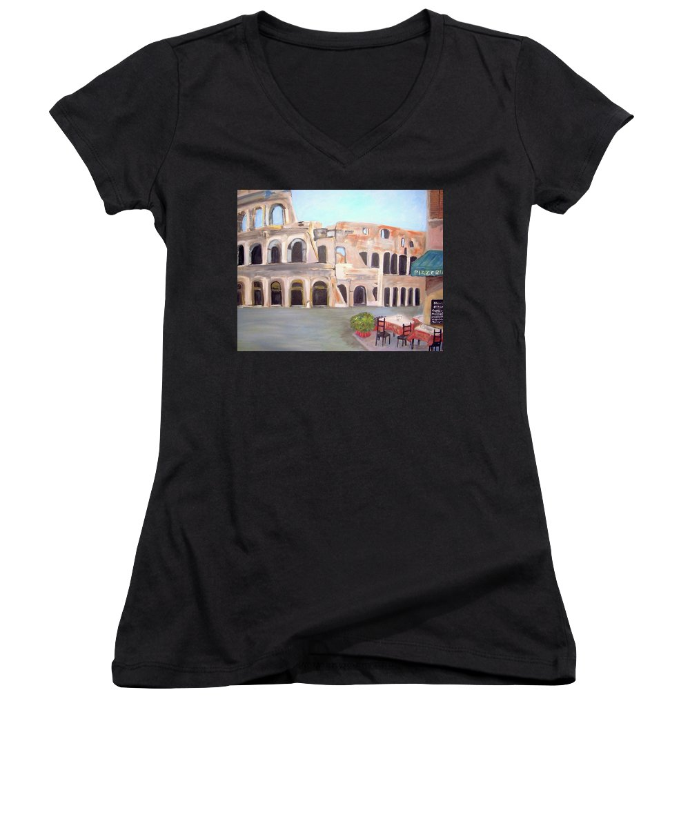 Cityscape Women's V-Neck T-Shirt featuring the painting The View Of The Coliseum In Rome by Teresa Dominici