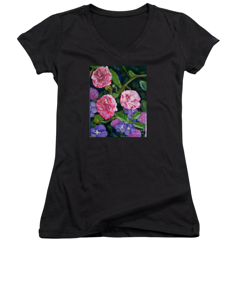 Roses Women's V-Neck T-Shirt featuring the painting Three For The Show by Laurie Morgan