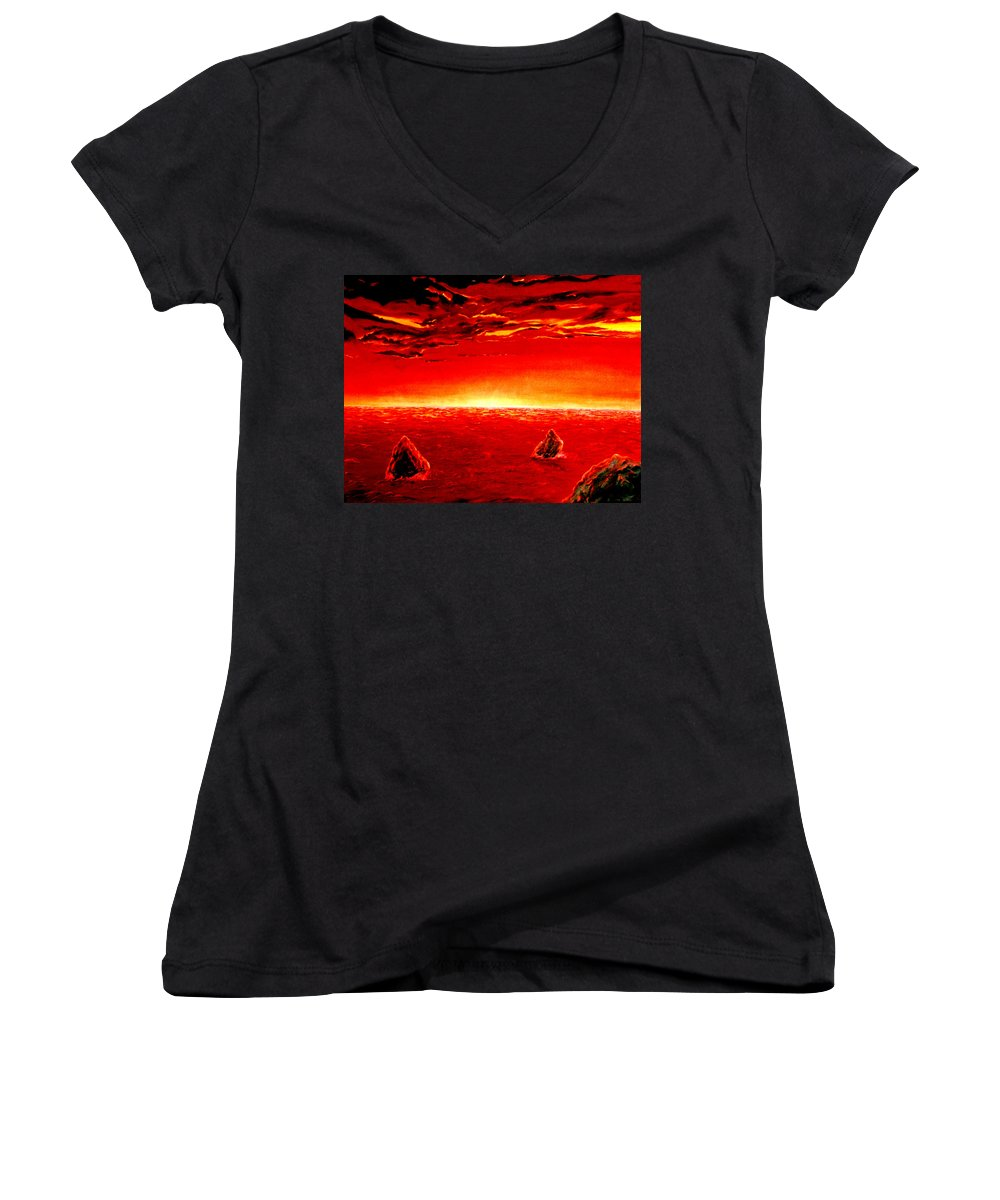 Seascape Women's V-Neck T-Shirt featuring the painting Three Rocks In Sunset by Mark Cawood