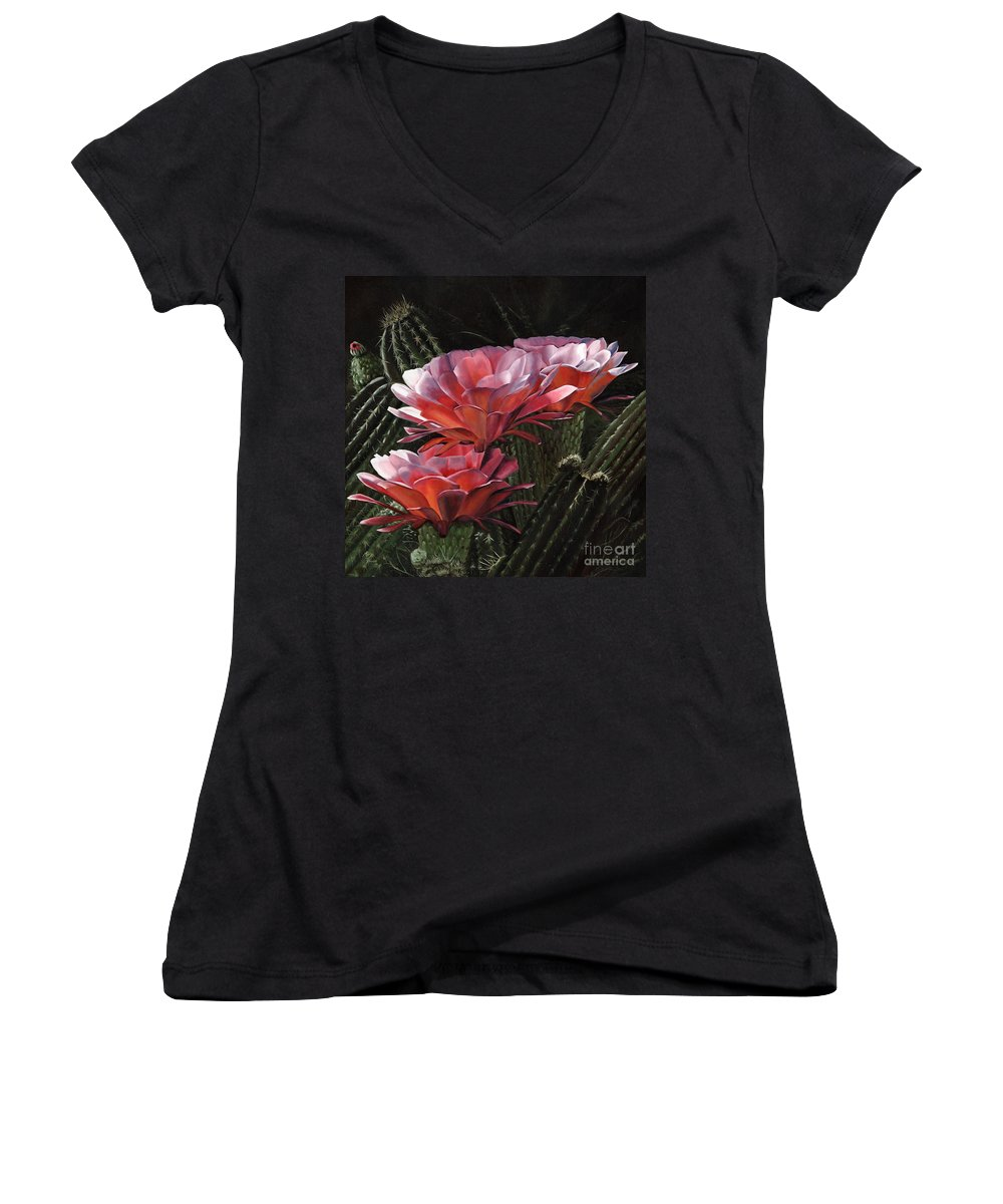 Art Women's V-Neck T-Shirt featuring the painting Three Sisters by Mary Rogers