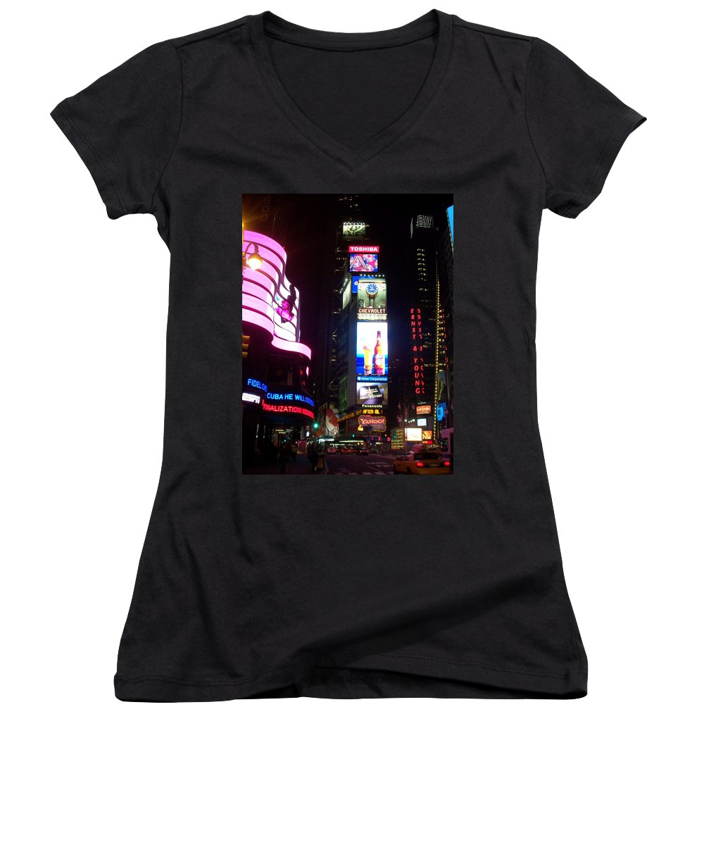 Times Square Women's V-Neck T-Shirt featuring the photograph Times Square 1 by Anita Burgermeister