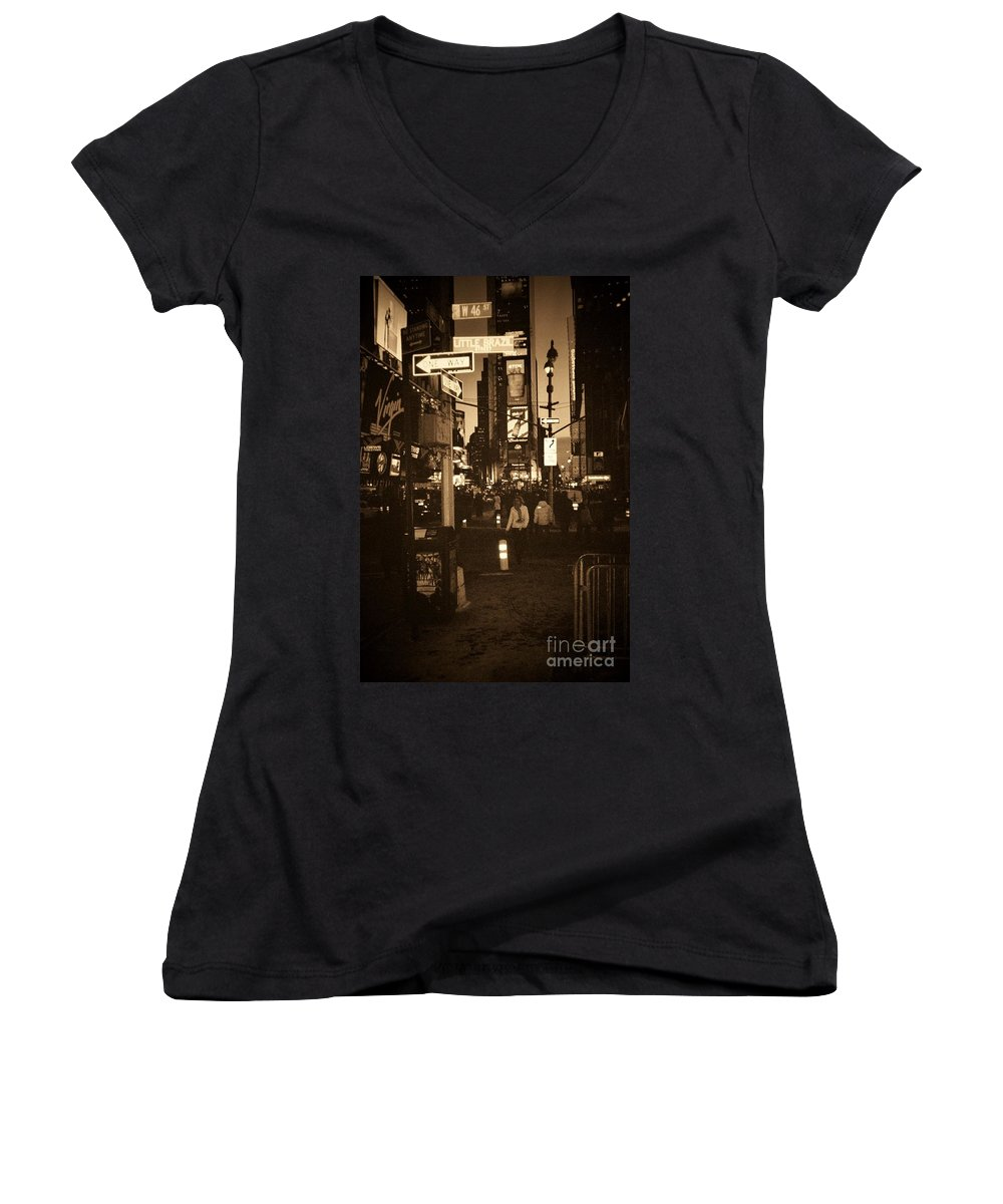 New York Women's V-Neck (Athletic Fit) featuring the photograph Times Square by Debbi Granruth