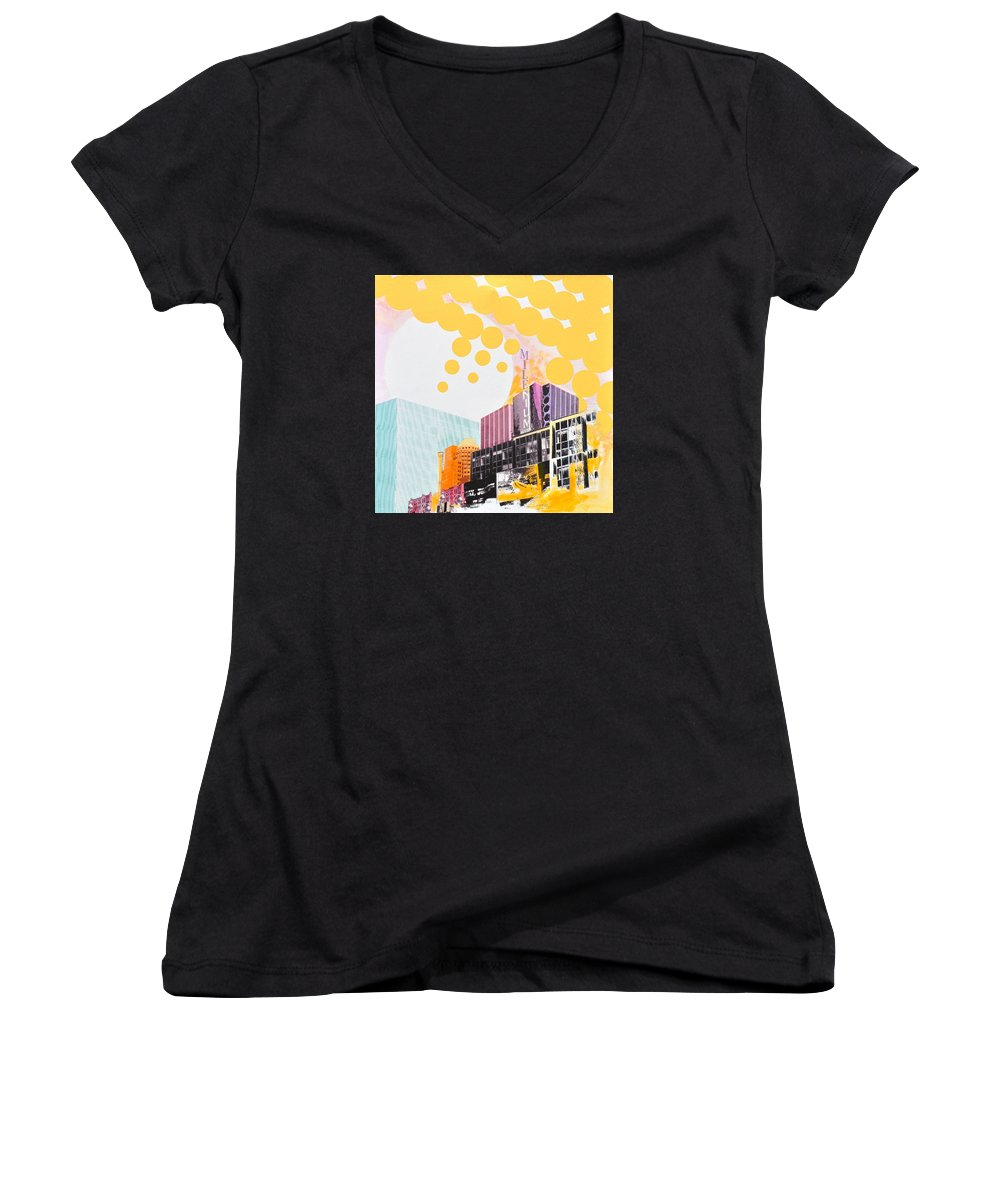 Ny Women's V-Neck T-Shirt featuring the painting Times Square Milenium Hotel by Jean Pierre Rousselet
