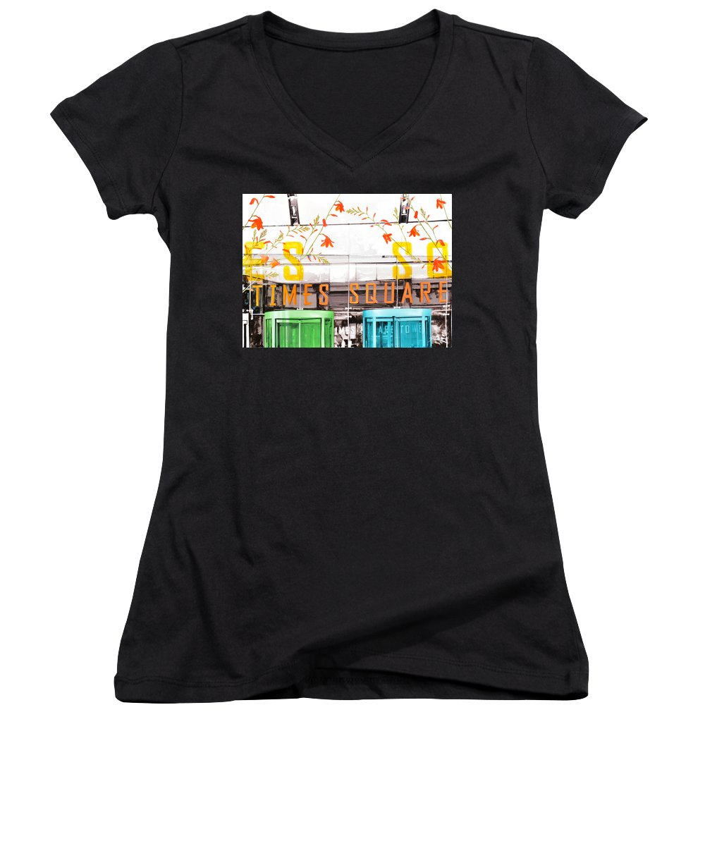 Ny Women's V-Neck (Athletic Fit) featuring the painting Times Square Tower by Jean Pierre Rousselet