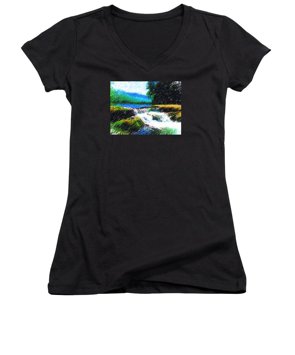 Landscape Women's V-Neck T-Shirt featuring the photograph Tolhuaca by Madalena Lobao-Tello
