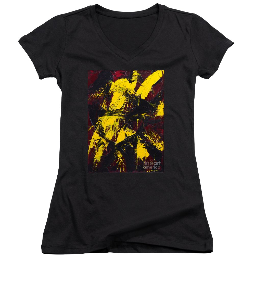 Abstract Women's V-Neck T-Shirt featuring the painting Transitions With Yelllow And Black by Dean Triolo