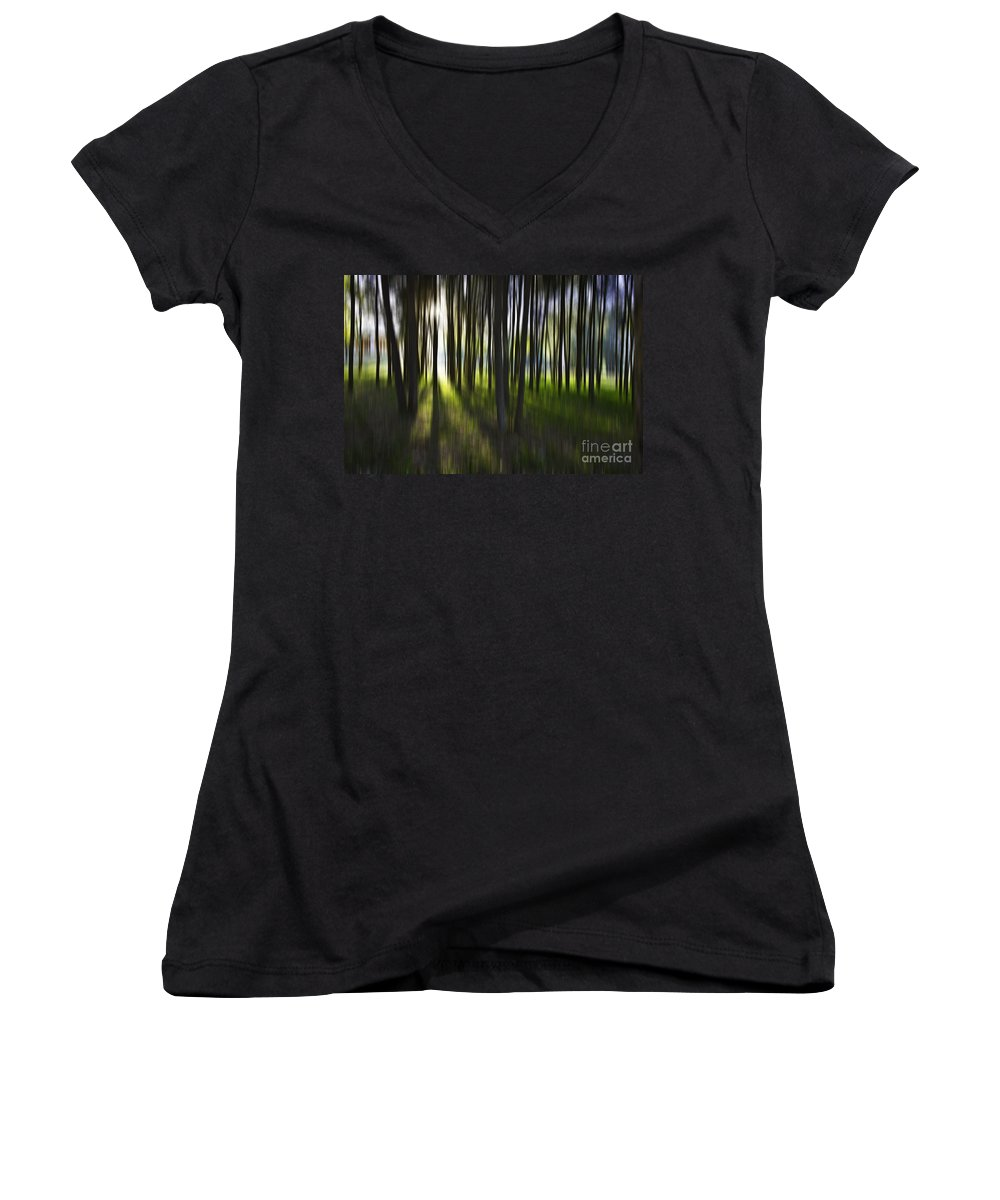 Trees Abstract Tree Lines Forest Wood Women's V-Neck T-Shirt featuring the photograph Tree Abstract by Avalon Fine Art Photography