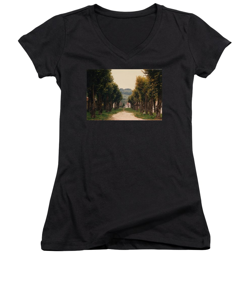 Trees Women's V-Neck (Athletic Fit) featuring the photograph Tree Lined Pathway In Lyon France by Nancy Mueller
