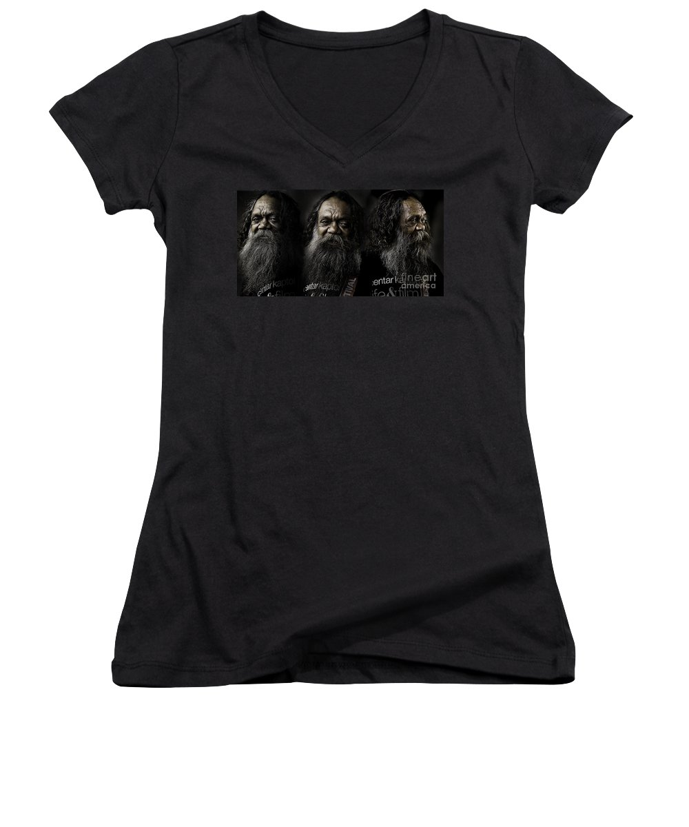 Triptych Women's V-Neck (Athletic Fit) featuring the photograph Triptych Of Cedric by Sheila Smart Fine Art Photography