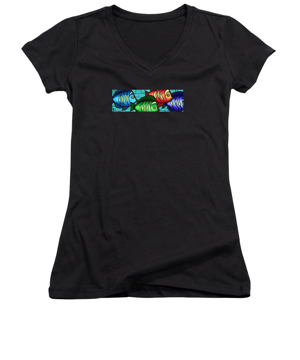 Tropics Women's V-Neck (Athletic Fit) featuring the painting Tropic Swim by Jim Harris