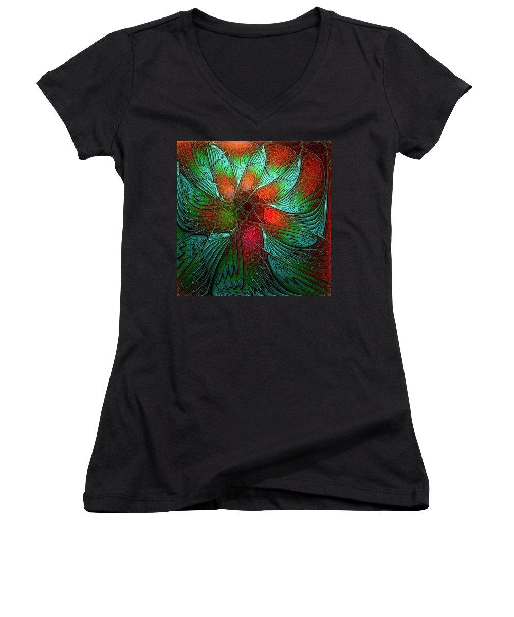 Digital Art Women's V-Neck T-Shirt featuring the digital art Tropical Tones by Amanda Moore