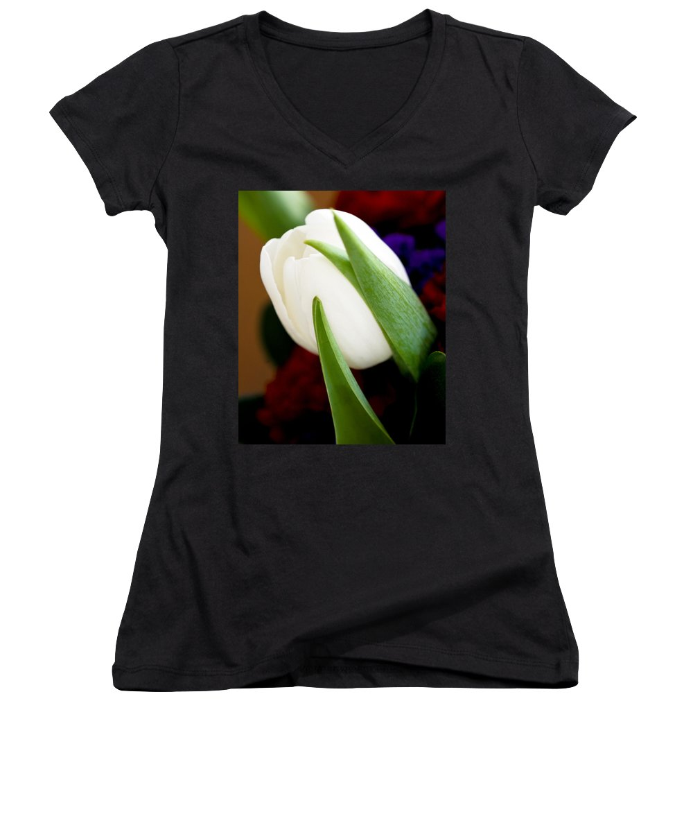 Floral Women's V-Neck T-Shirt featuring the photograph Tulip Arrangement 4 by Marilyn Hunt