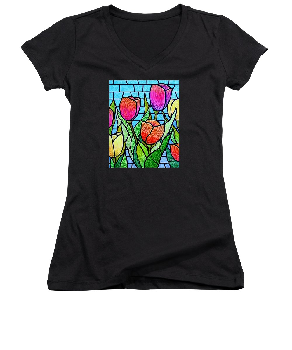 Tulips Women's V-Neck T-Shirt featuring the painting Tulip Garden by Jim Harris