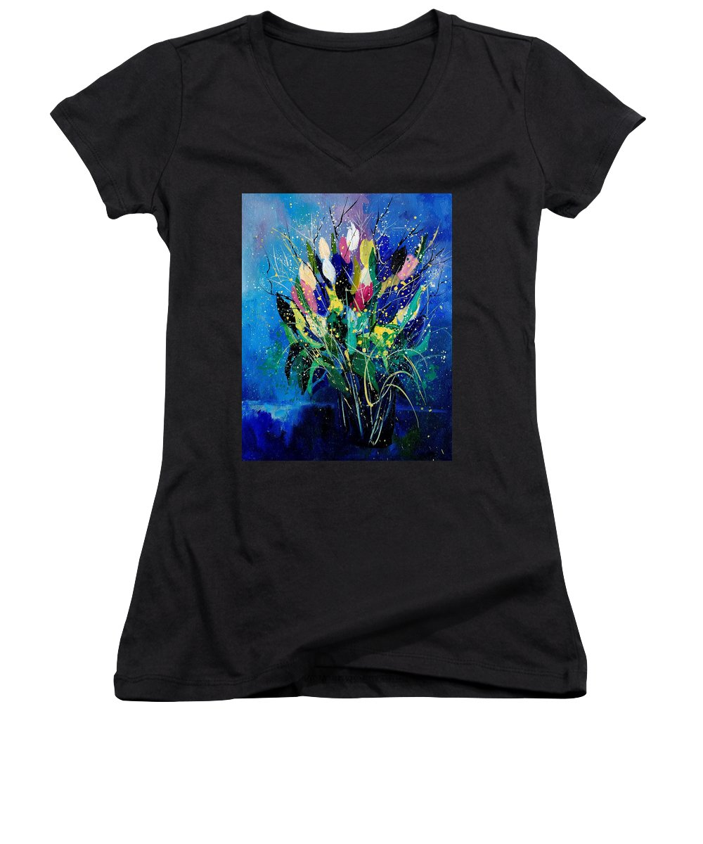 Flowers Women's V-Neck T-Shirt featuring the painting Tulips 45 by Pol Ledent