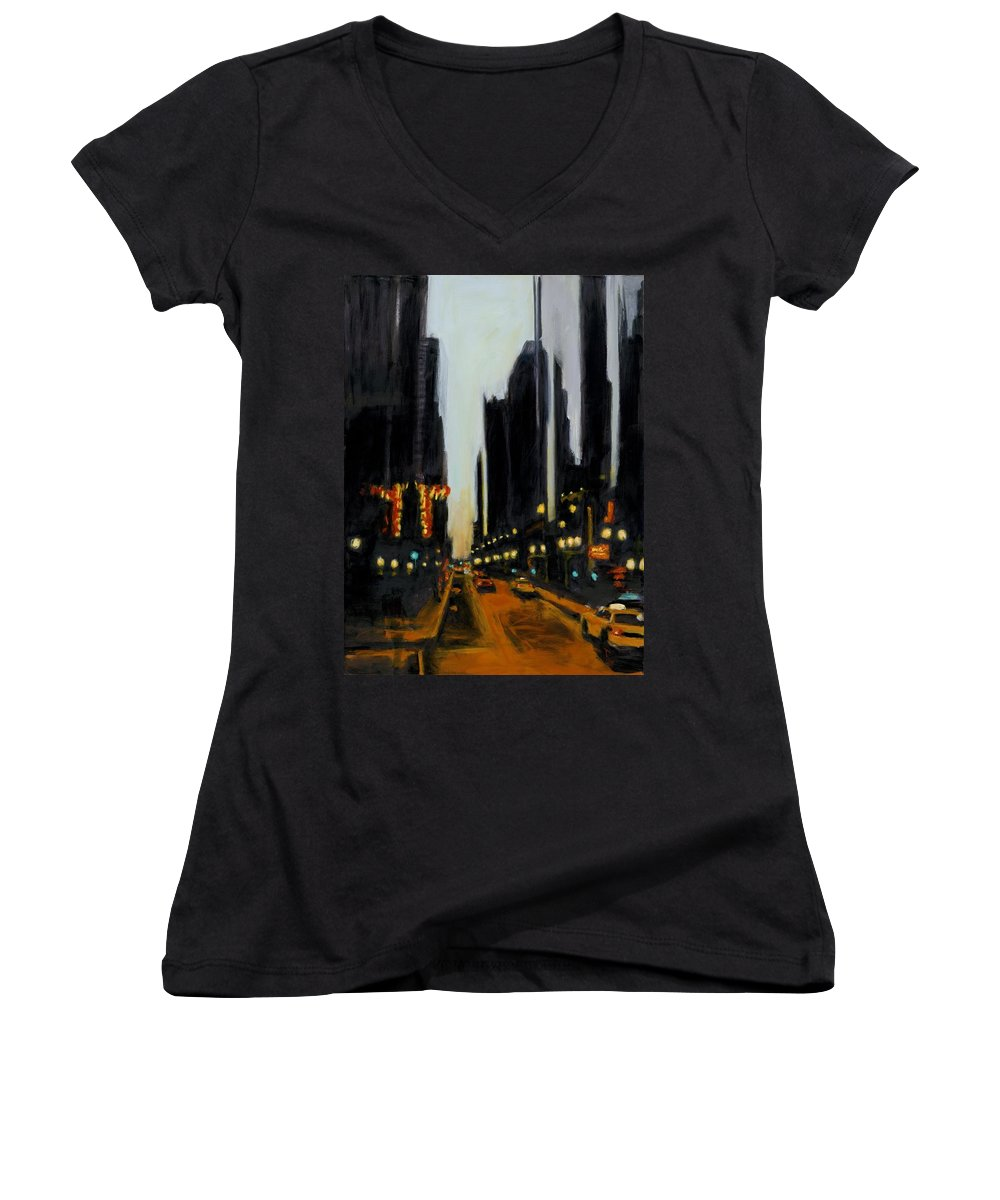 Rob Reeves Women's V-Neck (Athletic Fit) featuring the painting Twilight In Chicago by Robert Reeves