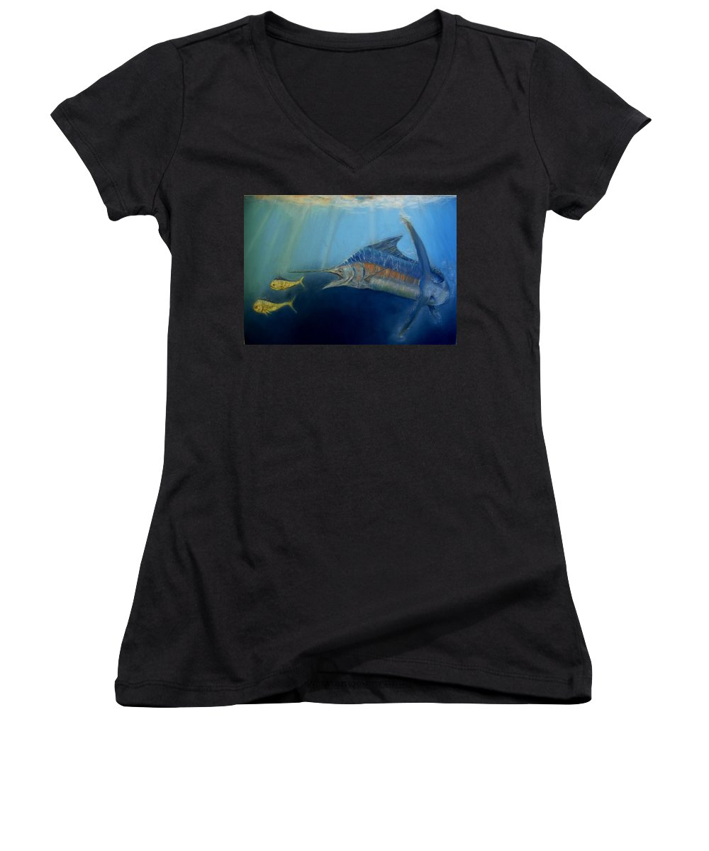 Marine Wildlife Women's V-Neck T-Shirt featuring the pastel Two For Lunch by Ceci Watson