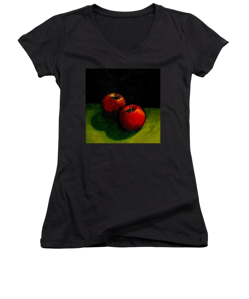 Red Women's V-Neck T-Shirt featuring the painting Two Red Apples Still Life by Michelle Calkins
