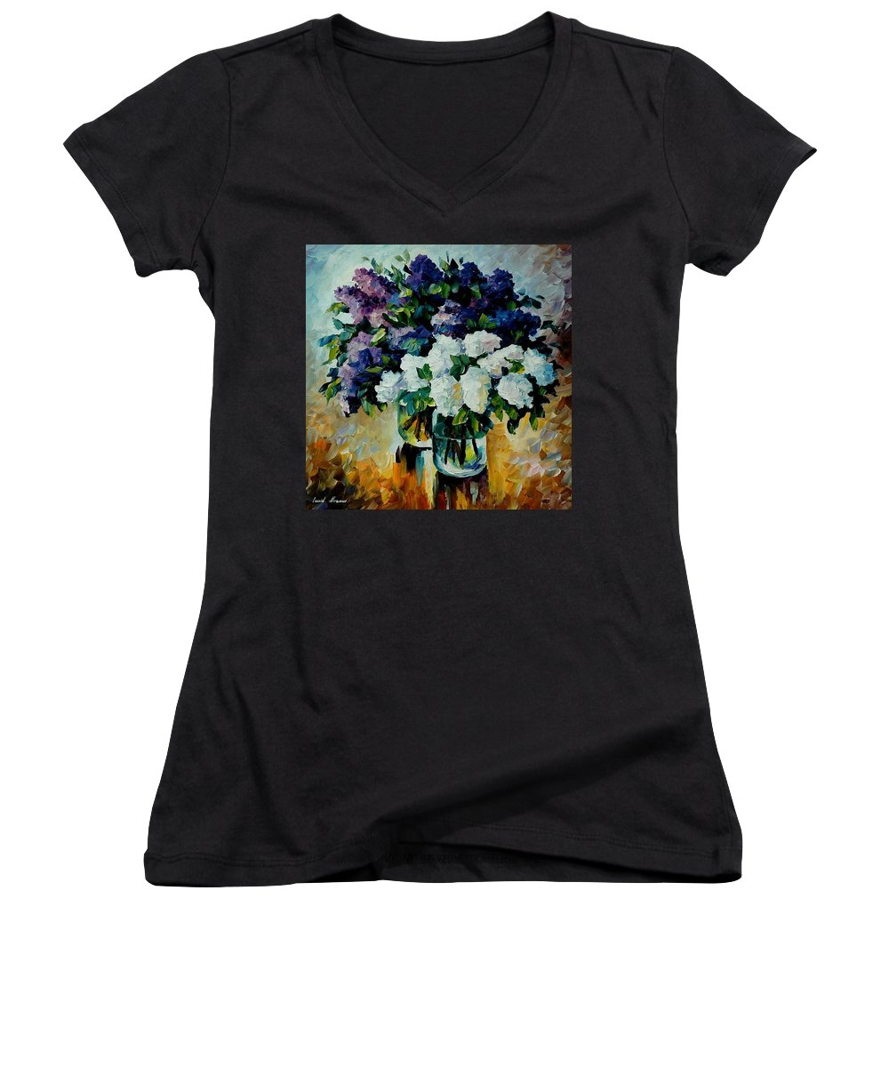 Painting Women's V-Neck T-Shirt featuring the painting Two Spring Colors by Leonid Afremov