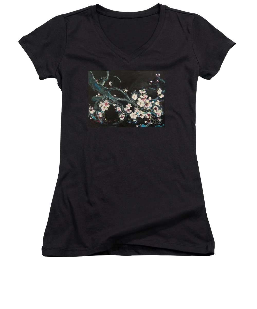 Ume Blossoms Paintings Women's V-Neck T-Shirt featuring the painting Ume Blossoms2 by Seon-Jeong Kim