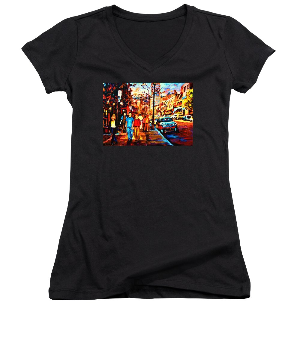 Montrealstreetscene Women's V-Neck (Athletic Fit) featuring the painting Under A Crescent Moon by Carole Spandau