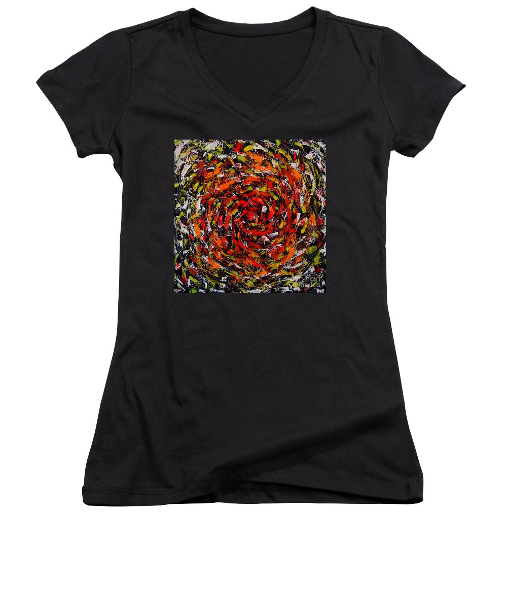 Abstract Women's V-Neck (Athletic Fit) featuring the painting Untitled by Dean Triolo