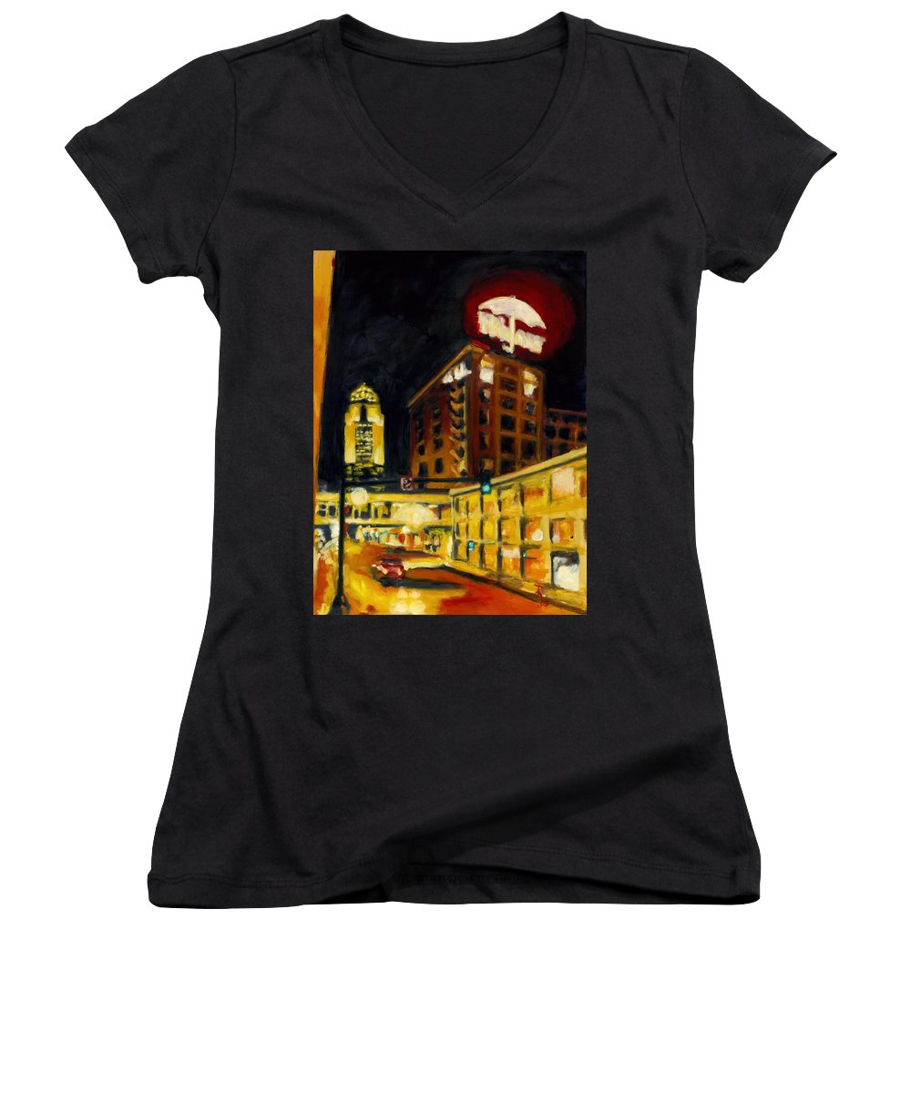 Rob Reeves Women's V-Neck T-Shirt featuring the painting Untitled In Red And Gold by Robert Reeves