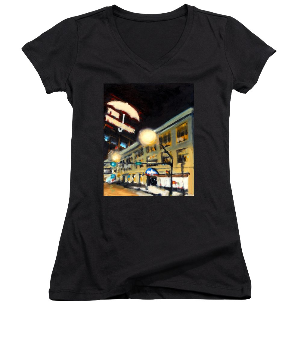 Rob Reeves Women's V-Neck T-Shirt featuring the painting Untitled by Robert Reeves