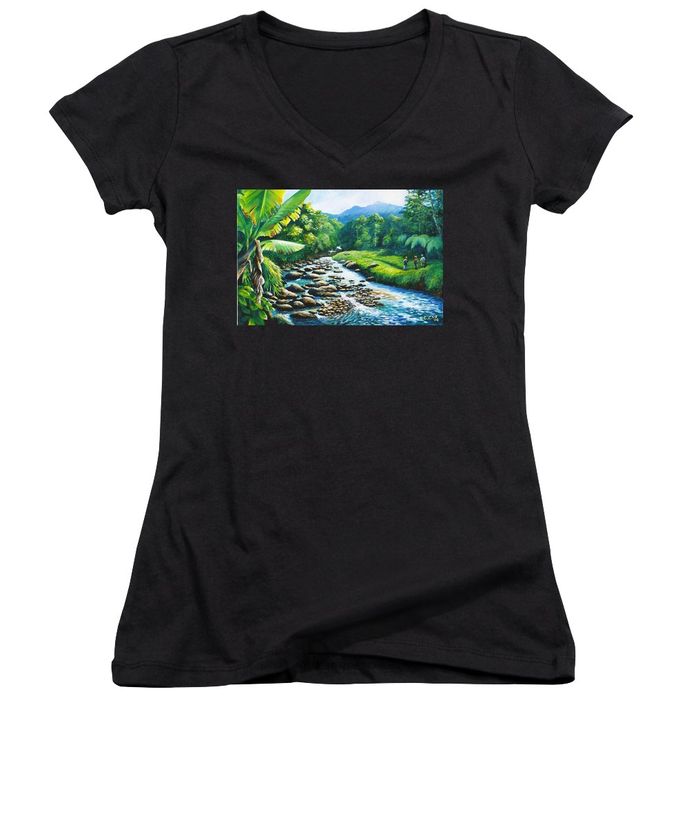Chris Cox Women's V-Neck T-Shirt featuring the painting Upriver by Christopher Cox