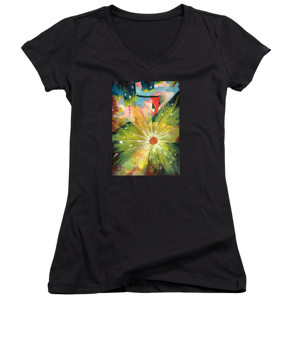 Downtown Women's V-Neck (Athletic Fit) featuring the painting Urban Sunburst by Andrew Gillette