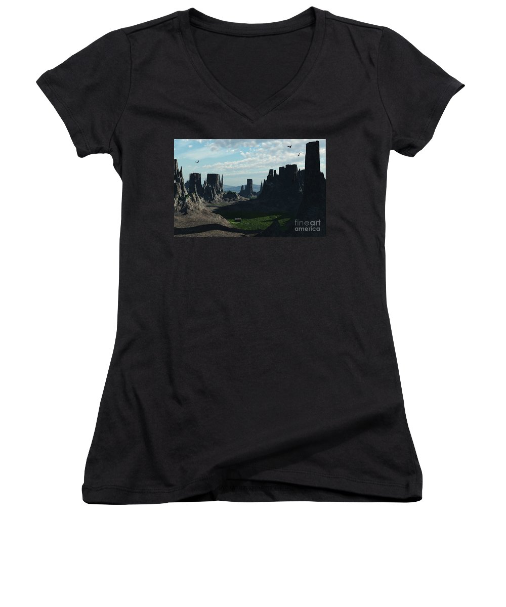 Valley Women's V-Neck T-Shirt featuring the digital art Valley Of The Kings by Richard Rizzo