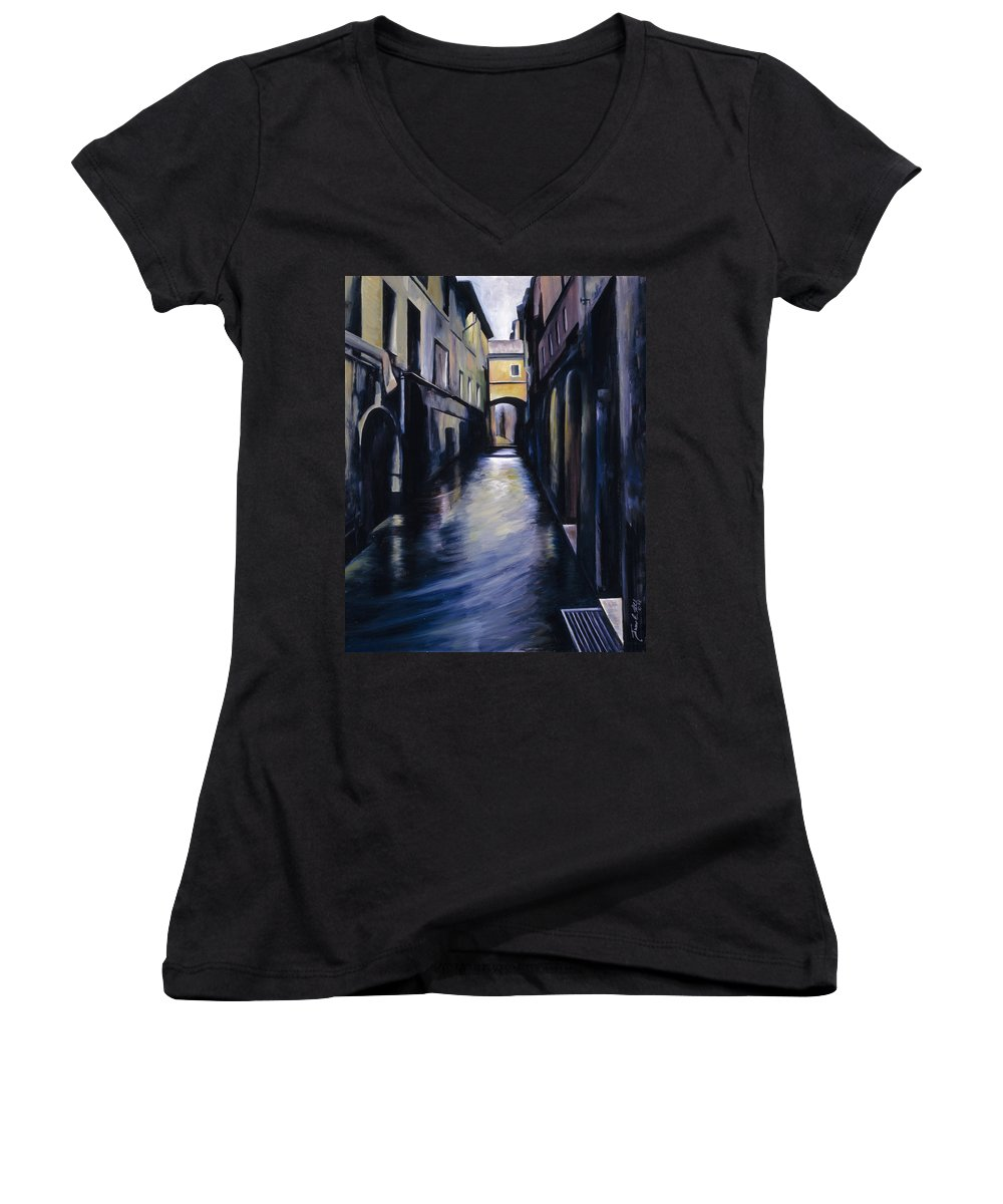 Street; Canal; Venice ; Desert; Abandoned; Delapidated; Lost; Highway; Route 66; Road; Vacancy; Run-down; Building; Old Signage; Nastalgia; Vintage; James Christopher Hill; Jameshillgallery.com; Foliage; Sky; Realism; Oils Women's V-Neck (Athletic Fit) featuring the painting Venice by James Christopher Hill