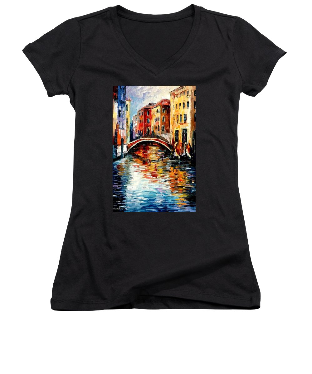 Landscape Women's V-Neck (Athletic Fit) featuring the painting Venice by Leonid Afremov