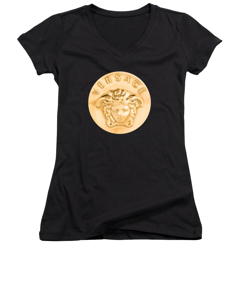 Versace Women's V-Neck featuring the painting Versace Jewelry-1 by Nikita