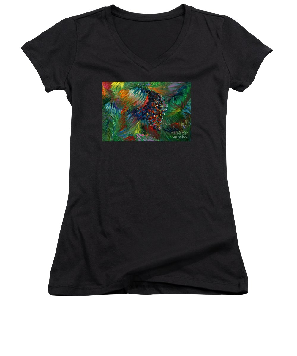 Grapes Women's V-Neck T-Shirt featuring the painting Vibrant Grapes by Nadine Rippelmeyer