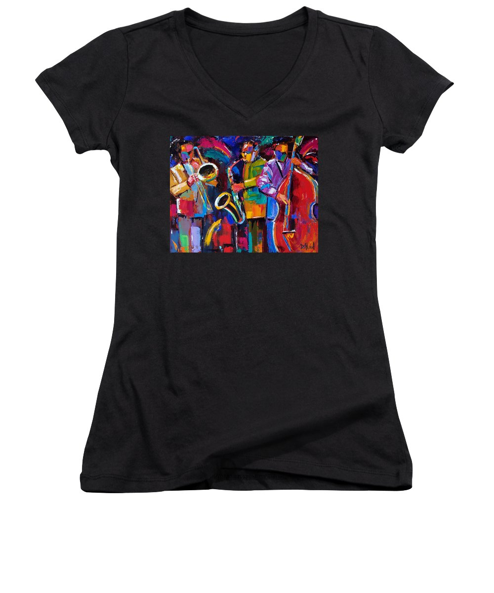 Jazz Women's V-Neck (Athletic Fit) featuring the painting Vibrant Jazz by Debra Hurd