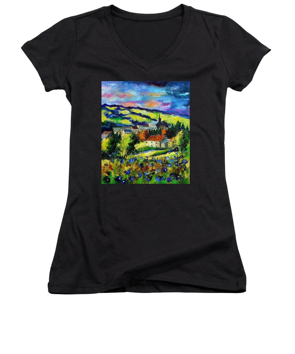 Landscape Women's V-Neck T-Shirt featuring the painting Village And Blue Poppies by Pol Ledent