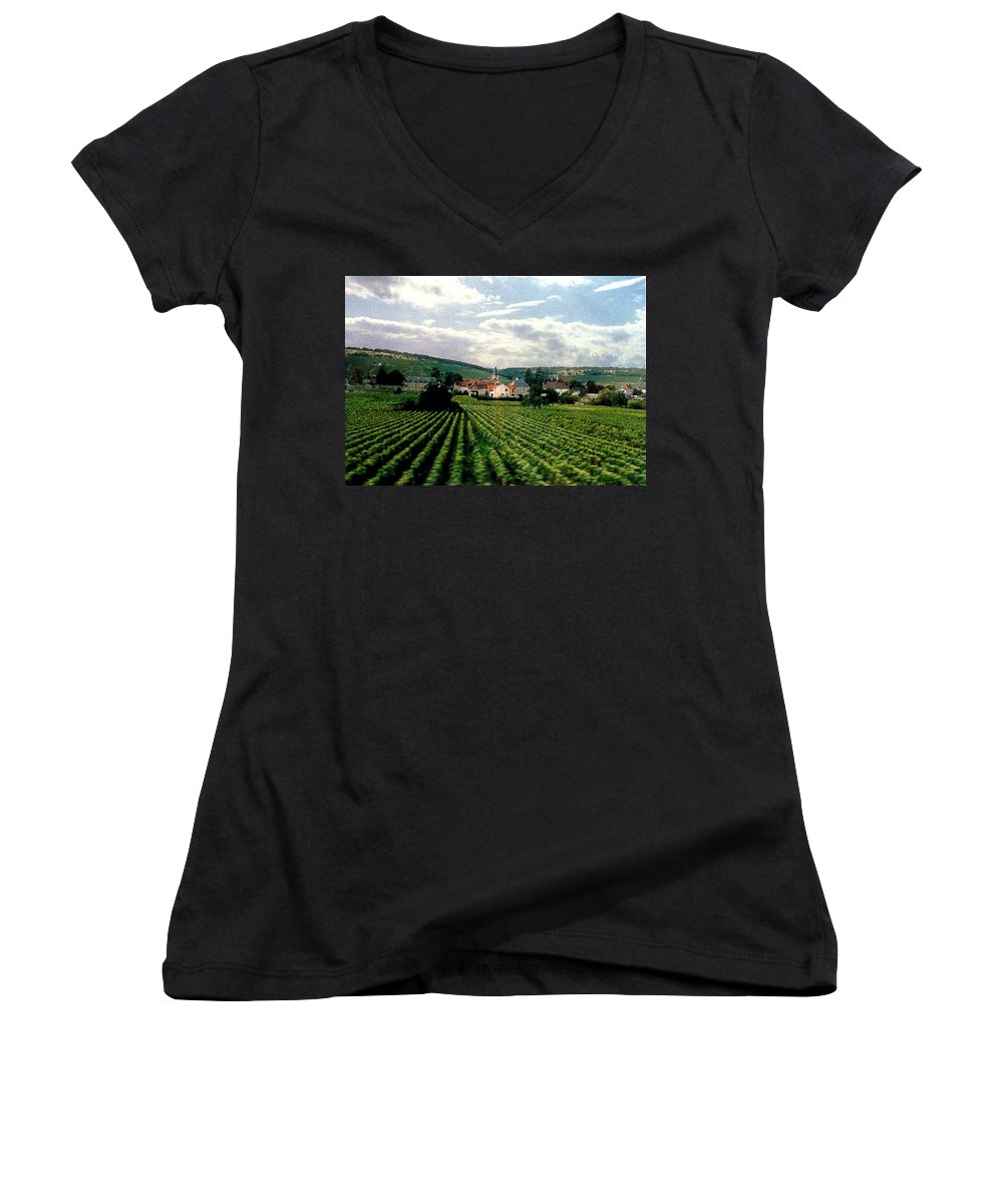 Vineyards Women's V-Neck T-Shirt featuring the photograph Village In The Vineyards Of France by Nancy Mueller