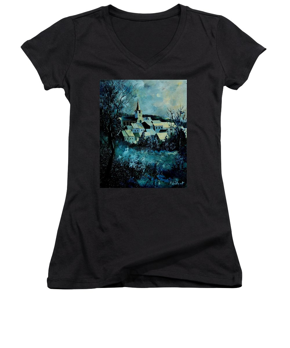 River Women's V-Neck T-Shirt featuring the painting Village In Winter by Pol Ledent