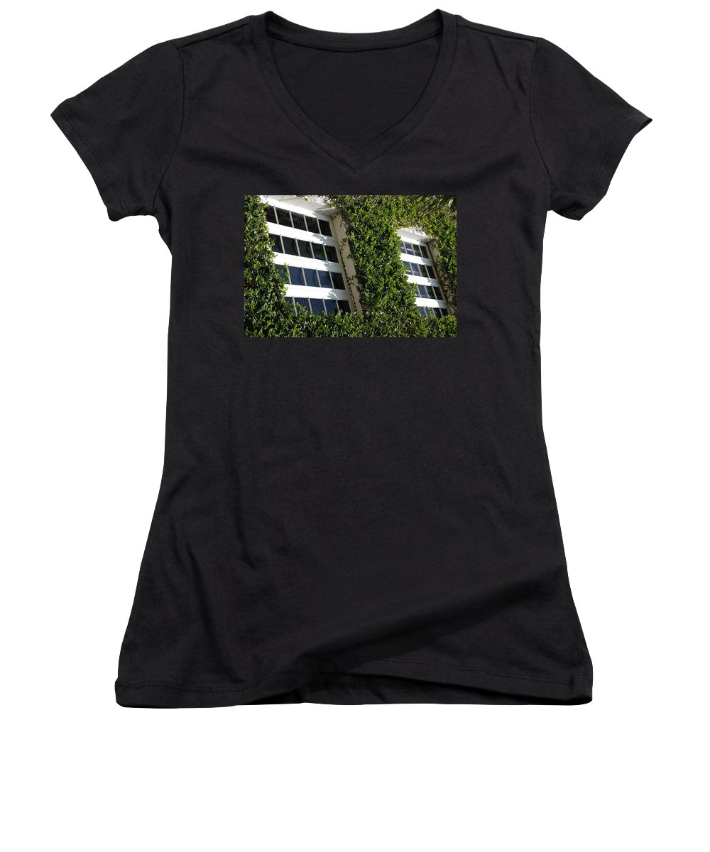 Architecture Women's V-Neck (Athletic Fit) featuring the photograph Vines And Glass by Rob Hans