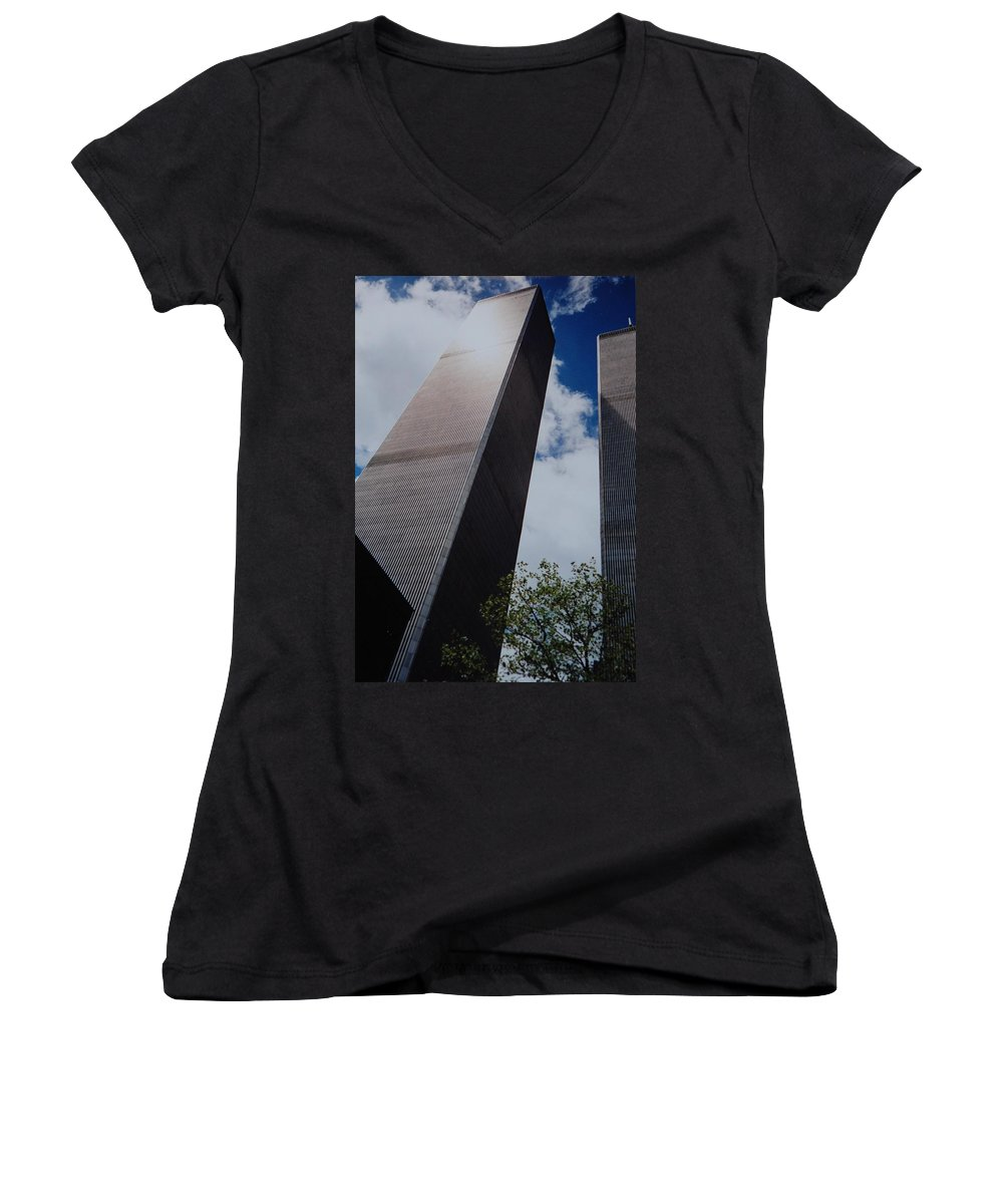 Wtc Women's V-Neck T-Shirt featuring the photograph W T C 1 And 2 by Rob Hans