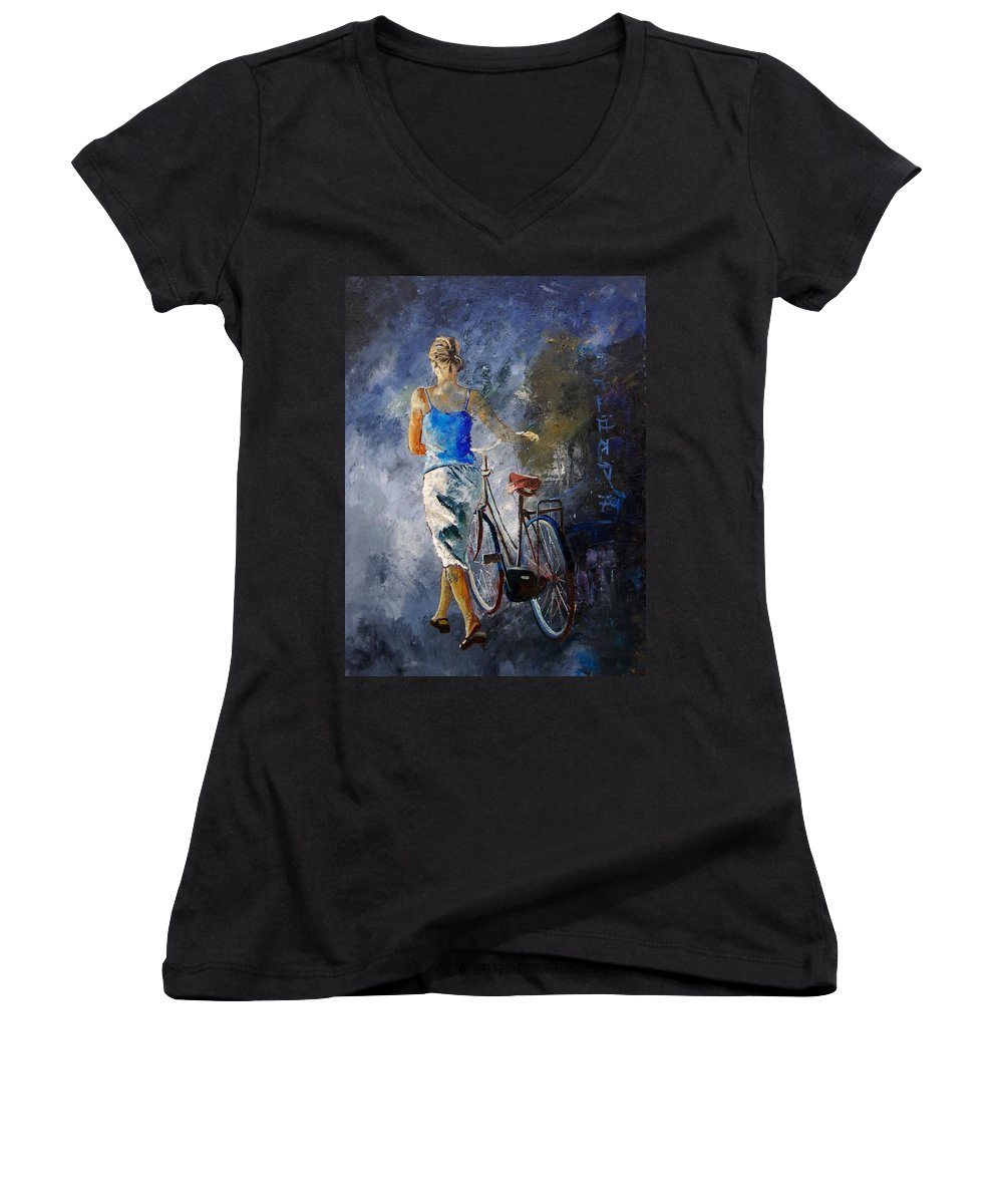 Girl Women's V-Neck T-Shirt featuring the painting Waking Aside Her Bike 68 by Pol Ledent