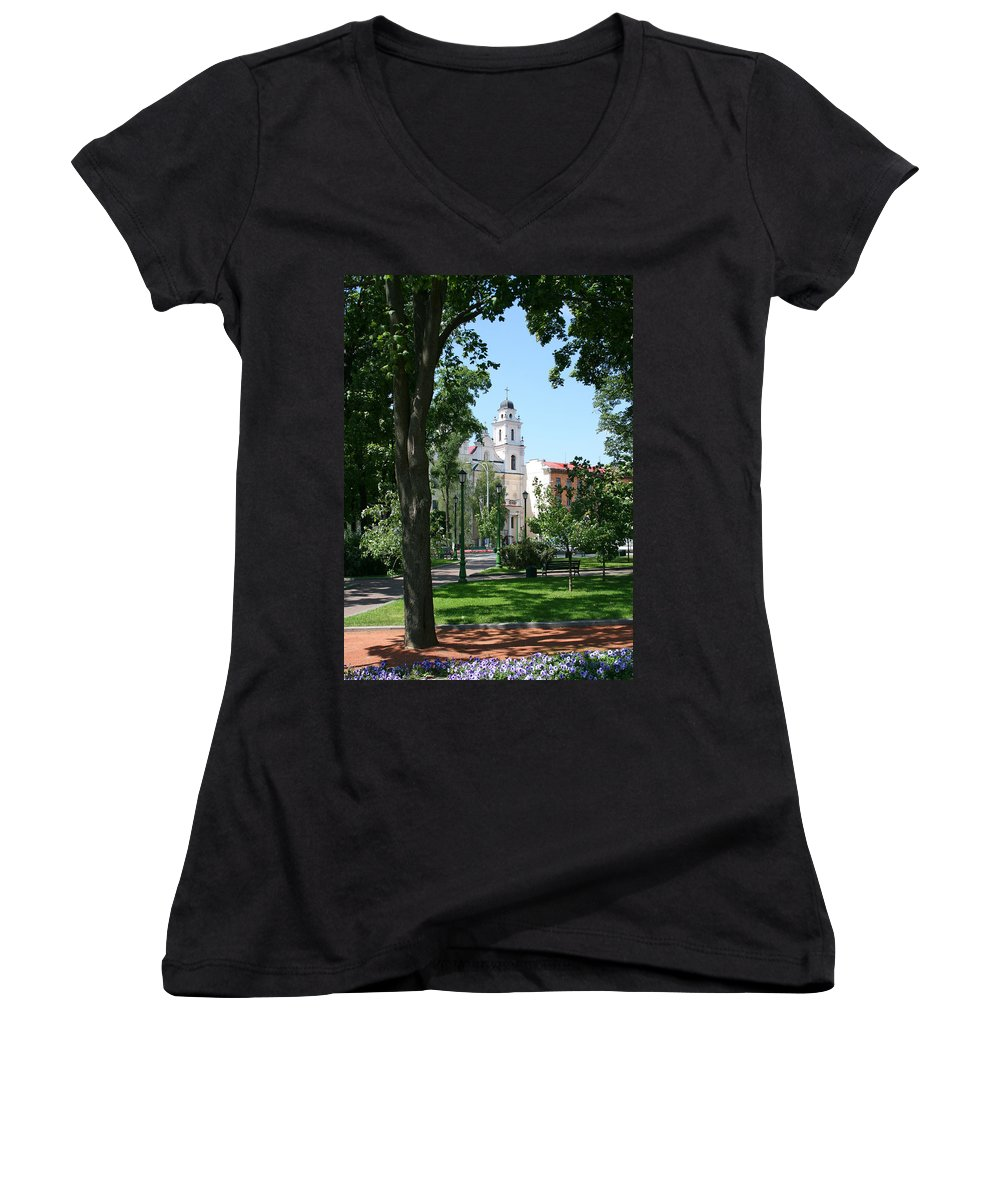 Park City Tree Trees Flowers Church Building Summer Blue Sky Green Walk Bench Women's V-Neck T-Shirt featuring the photograph Walk In The Park by Andrei Shliakhau
