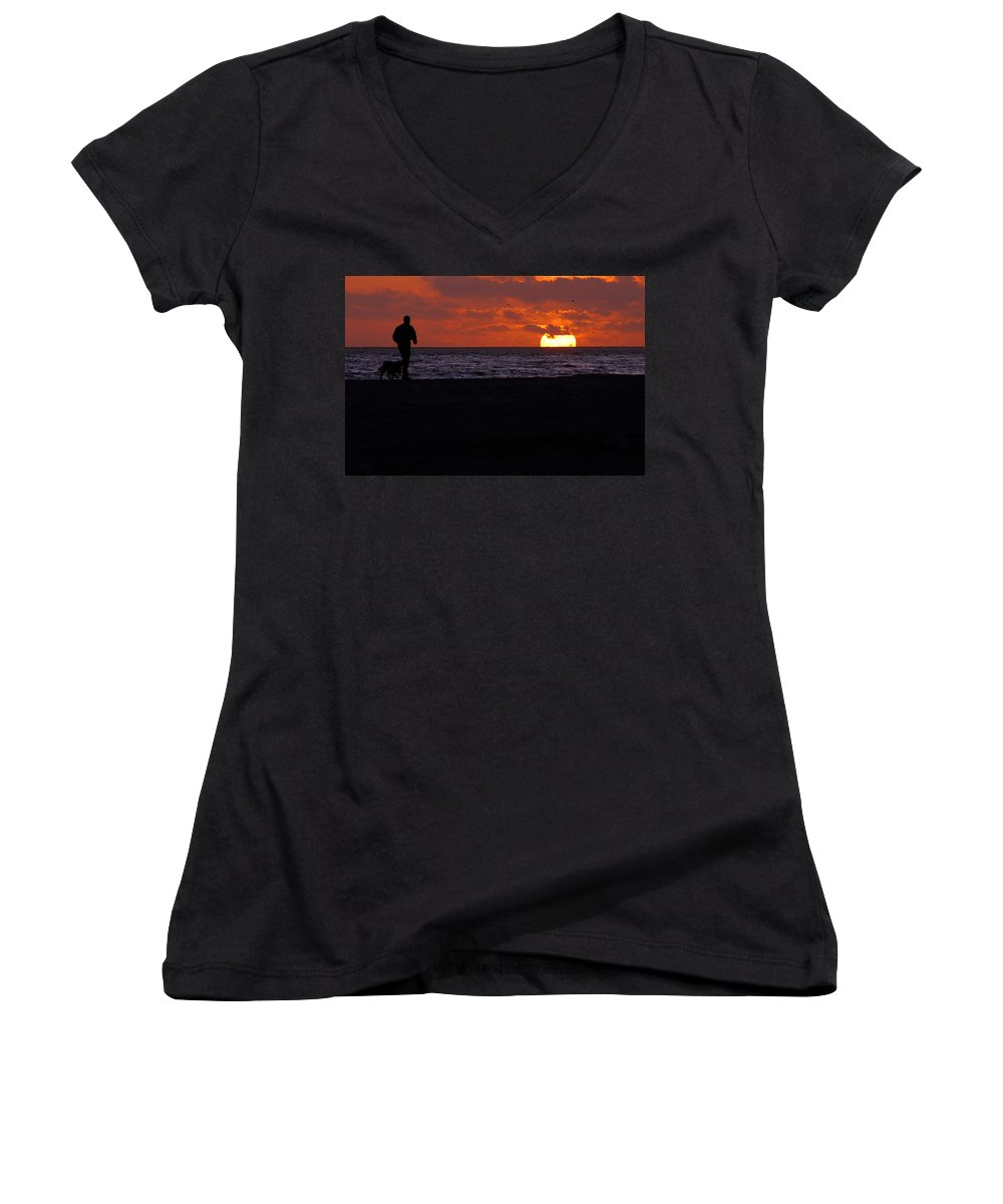 Clay Women's V-Neck T-Shirt featuring the photograph Walking The Dog by Clayton Bruster