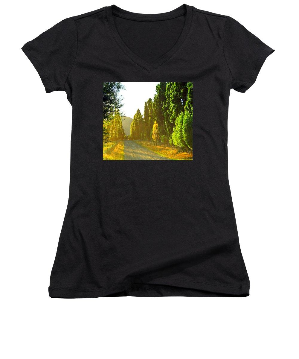 Wanaka Women's V-Neck T-Shirt featuring the photograph Wanaka Morning Light by Kevin Smith