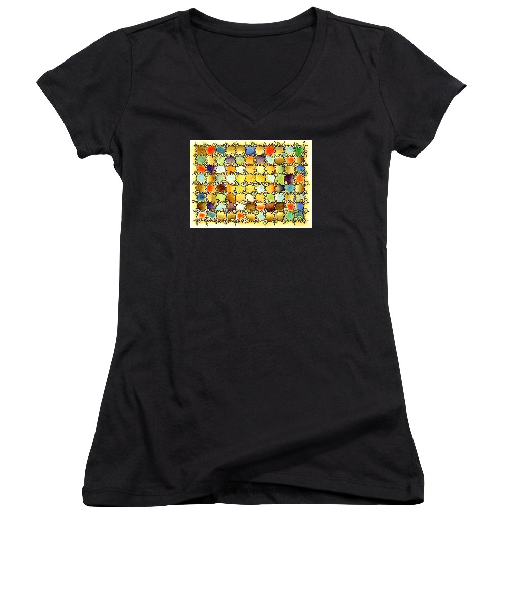 Abstract Women's V-Neck (Athletic Fit) featuring the painting Warm Light by Dave Martsolf
