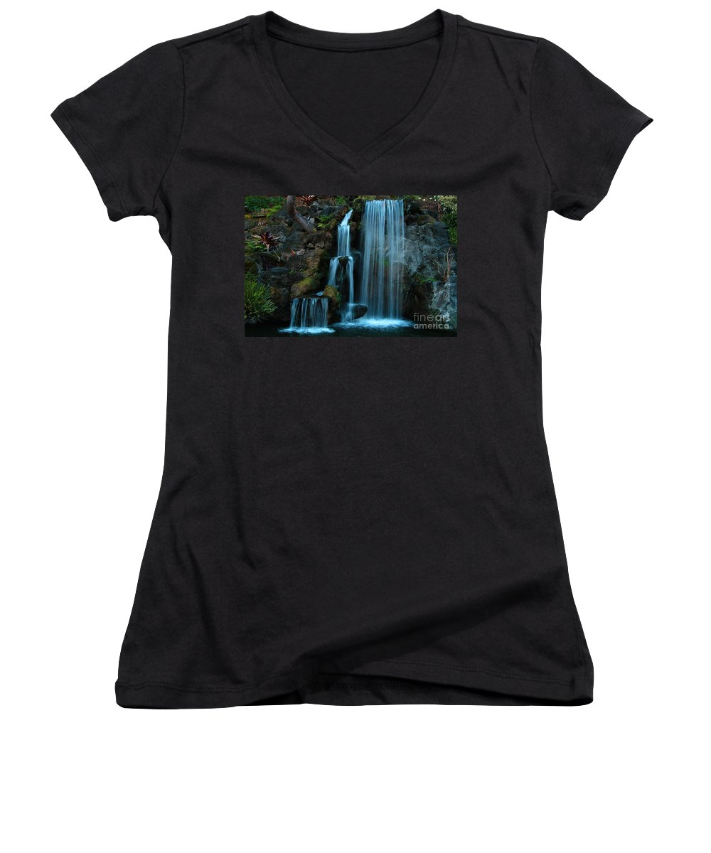 Clay Women's V-Neck T-Shirt featuring the photograph Waterfalls by Clayton Bruster