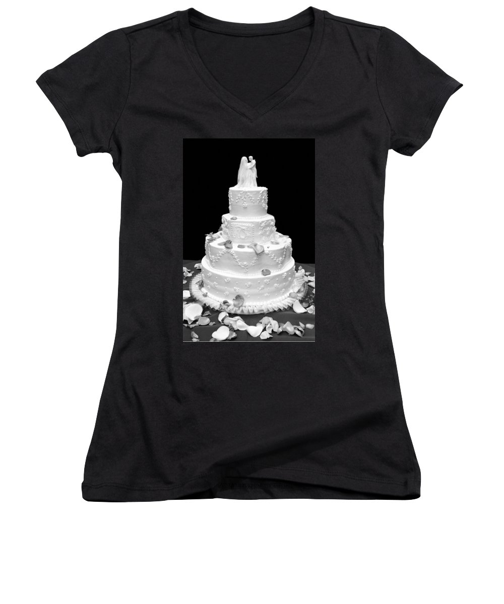 Wedding Women's V-Neck T-Shirt featuring the photograph Wedding Cake by Marilyn Hunt